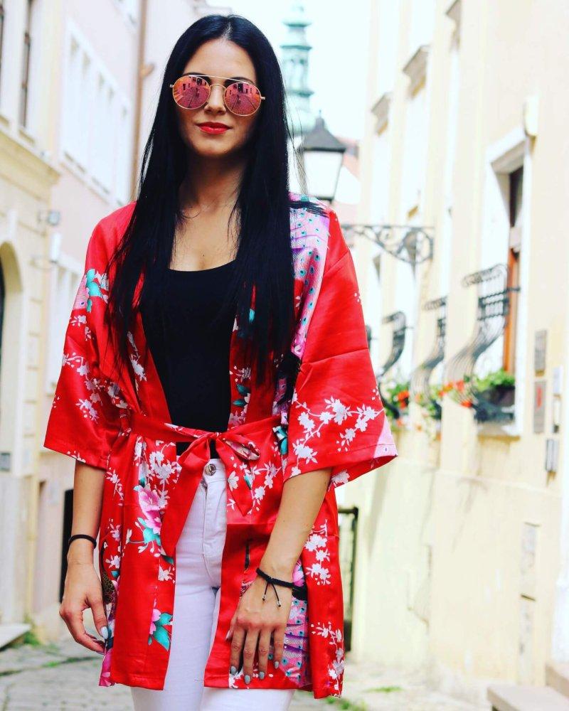 Kimono červené plážové