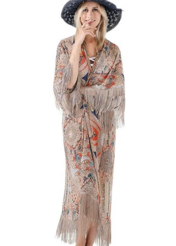Hnedé boho kimono dlhé dámske elegantné do mesta so strapcami.