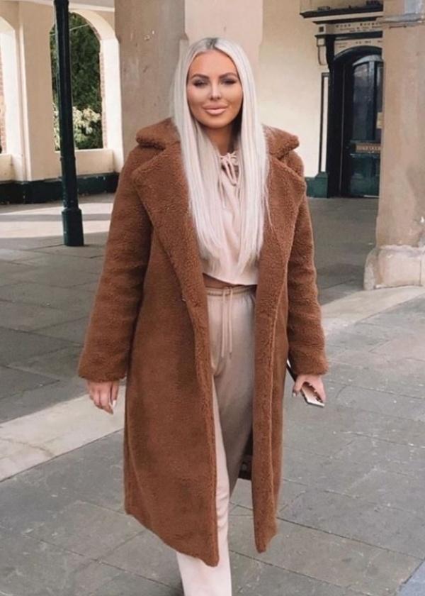 Krásny teplý dlhý teddy oversize kabát hrdzavý tmavohnedý